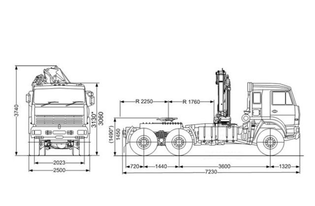 Седельный тягач «Камаз 65225» с КМУ ИНМАН ИМ-95