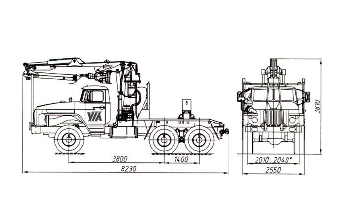 Трубоплетевоз с гидроманипулятором СФ-65С 4456N1-20 на шасси Урал 5557-1112-60М