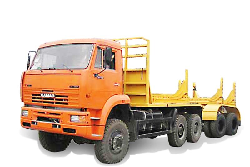 Трубовозный автопоезд «Камаз 43118» с прицепом-роспуском, общий вид